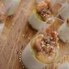 Pannacotta salée Miso/Coco, Crevettes Gingembre & Sésame